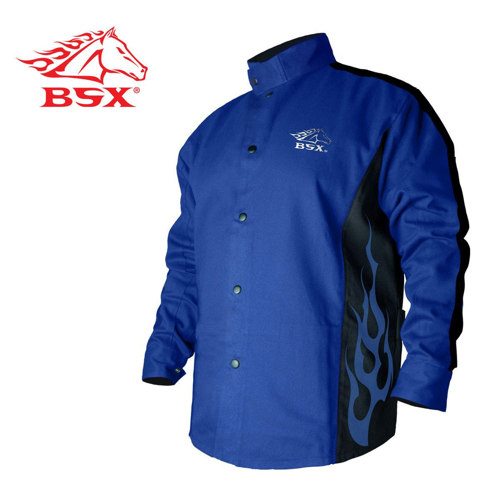 Revco BXRB9C BSX STRYKER BLUE FR WELDING JACKET WITH BLUE FLAMES