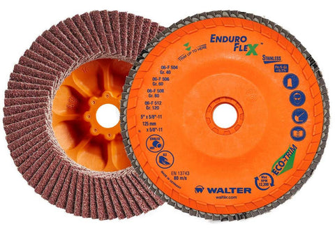 "Walter 06F454 4.5"" 40 Grit Spin-On Enduro-Flex Stainless Flap Disc"