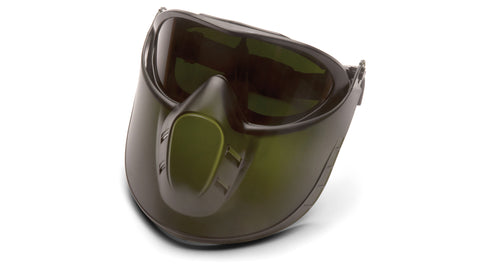 Pyramex GG504TSHIELDIR5  Direct/Indirect Goggle W/ 5.0 IR  Filter Lens with Green Tinted Faceshield Attachment Lens (1 each)