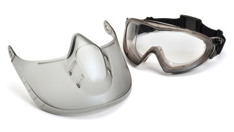 Pyramex GG504TSHIELD  Direct/Indirect Goggle W/ Gray Frame/Clear Anti-Fog Lens with Face Shield Lens (1 each)