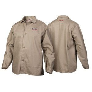 Lincoln K3317 Traditional Khaki FR Cloth Welding Jacket (Medium to 3XL)