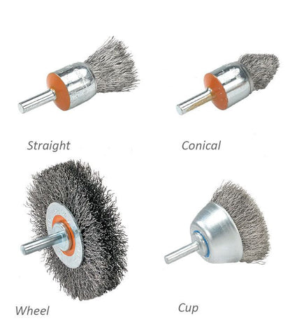 "Walter 13C028 3/4"" x .014"" Conical Mounted Wire Brush with Crimped Wire"
