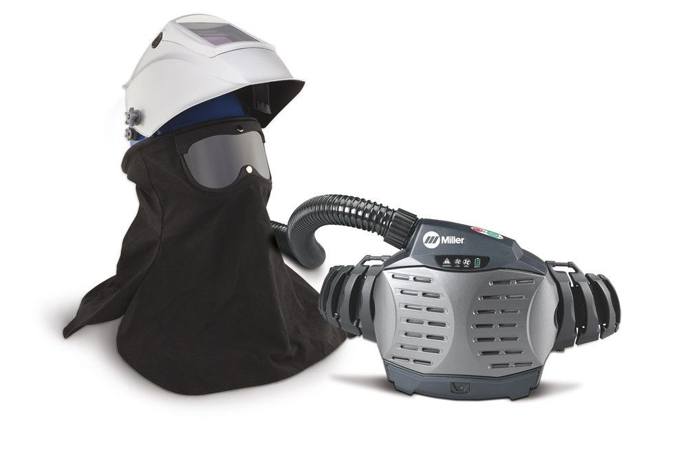 Miller 259385 PAPR (Powered Air-Purifying Respirator) with Hard Hat & Titanium 9400 Welding Helmet Viewer