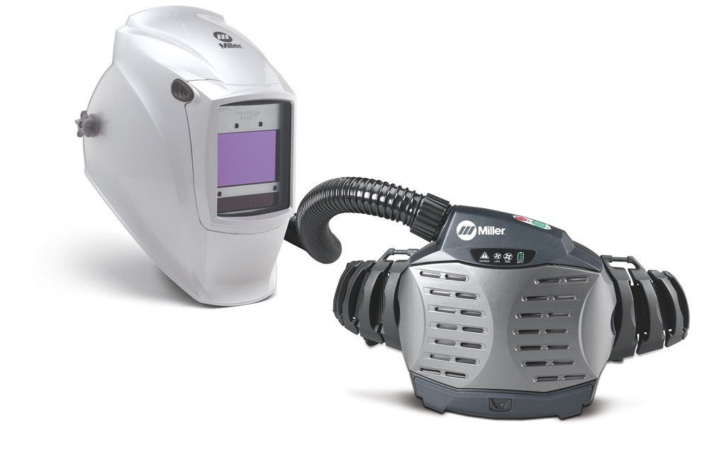 Miller 264879 PAPR (Powered Air-Purifying Respirator) with Titanium 9400 Welding Helmet Side View