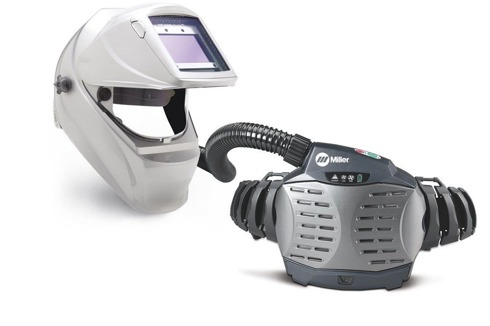 Miller 264877 PAPR with Titanium 9400i Welding Helmet Side View