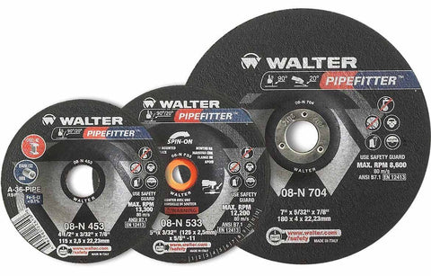 "Walter 08N452 4.5"" x 1/8"" x 7/8"" Pipefitter A36 Grinding Wheel"