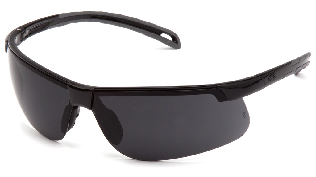 Pyramex SB8623DT Ever-Lite Black Safety Glasses W/ Dark Gray Anti-Fog Lens (12 each)