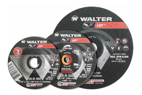 "Walter 08B706 7"" x 1/4"" Metal Spin-On HP Type-28 Grinding Wheel"
