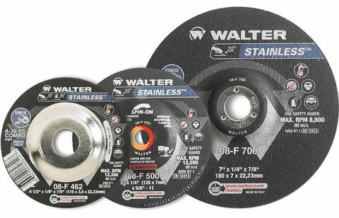 "Walter 08F450 4.5"" x 1/4"" Type-27 Stainless Spin-on Grinding Wheel"