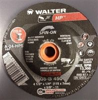 "Walter 08B450 4.5"" x 1/4"" Spin-On HP Type-27 Grinding Wheel"