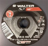 "Walter 08B460 4.5"" x 1/4"" x 7/8"" HP Type-27 Grinding Wheel"