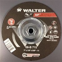 "Walter 08B715 7"" x 1/4"" Metal Spin-On HP Type-27 Grinding Wheel"