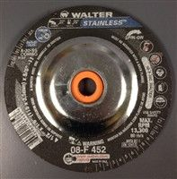 "Walter 08F452 4.5"" x 1/8"" Stainless Combo Spin-on Grinding Wheel"