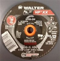 "Walter 08K450 4.5"" x 1/4"" Type-27 HP XX Spin-On Grinding Wheel"