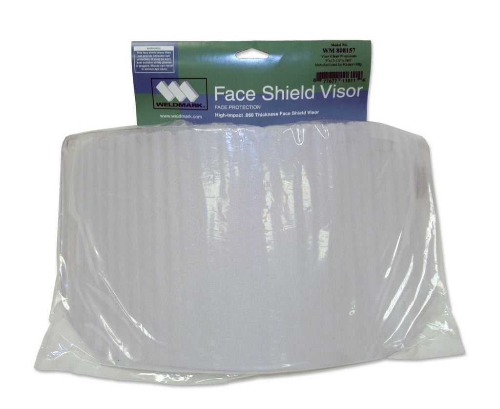 Weldmark WM808157 Clear Visor 8 X 15 1/2 X .060 P.O.P. (Pkg. of 50)