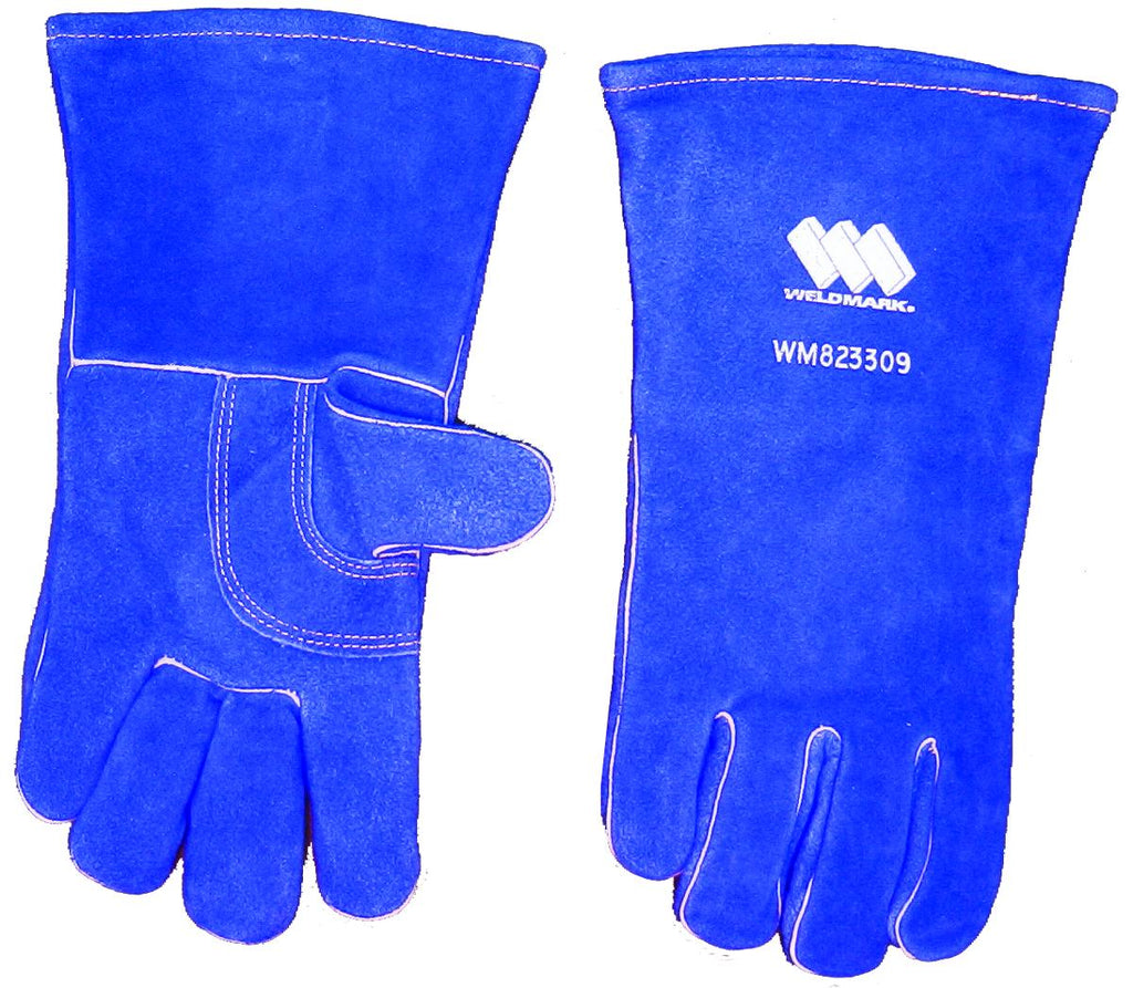"Weldmark WM823309 Large Split Blue Cowhide 13"" Full Welt Thumbstrap Gloves (Pkg. of 48)"