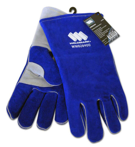 "Weldmark WM828400 Large Premium Split Blue Cowhide 13"" Foam Back Wing Thumb Gloves (Pkg. of 48)"