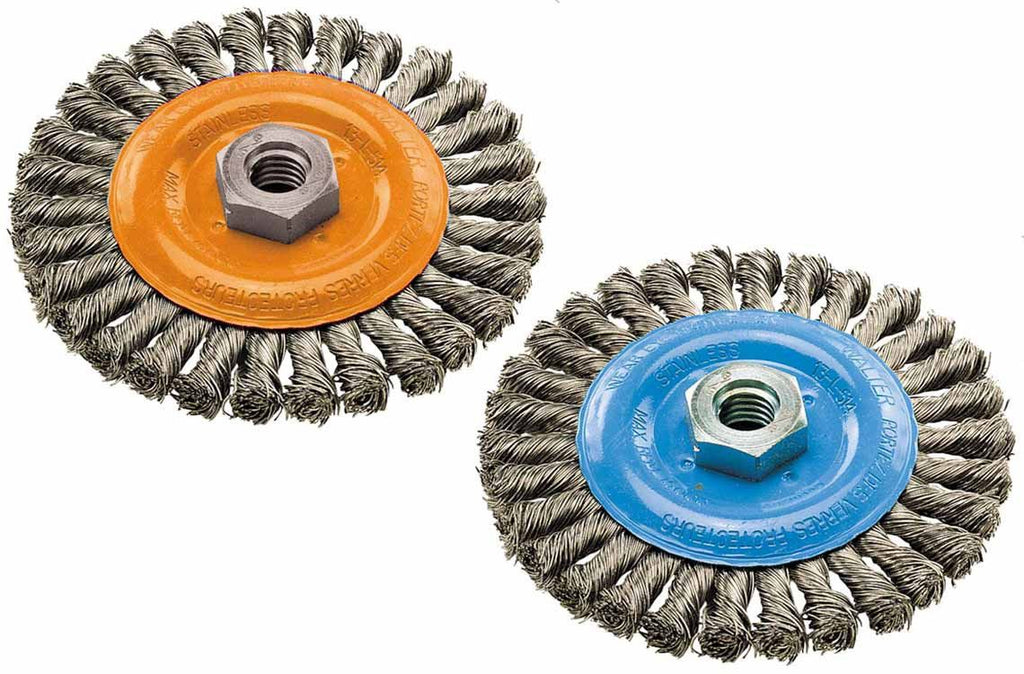 "Walter 13L404 4"" x 3/8"" x 5/8""-11"" Knot-Twisted Wire Wide Wheel Brush"