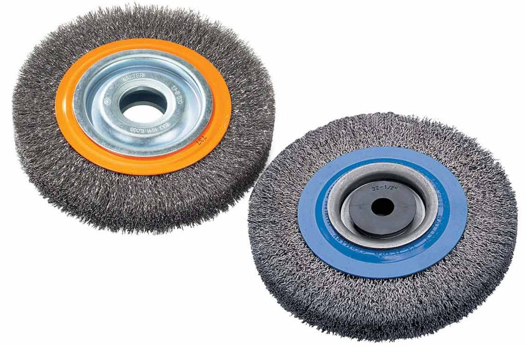"Walter 13B040 4"" x 3/4"" Bench Wheel Brush with Crimped Wires"