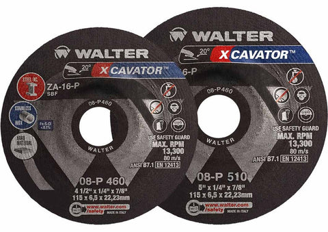"Walter 08P450 4.5"" x 1/4"" XCAVATOR™ Spin-On Grinding Wheel"