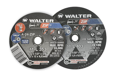 "Walter 11L403 4"" x 1/32"" x 3/8"" Zip™ Cut-Off Wheel"