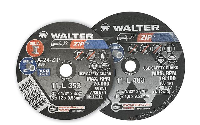 "Walter 11L433 4"" x 1/4"" x 3/8"" Zip™ Cut-Off Wheel"