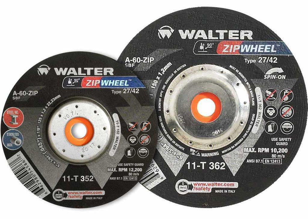 "Walter 11T352 5"" x 3/64"" x 5/8-11"" Zip™ Spin-On Cut Off Wheel"