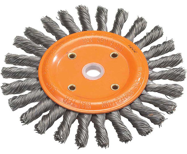 "Walter 13B280 8"" x 5/8"" x 1-1/4"" Knot-Twisted Bench Grinder Brush Wheel"