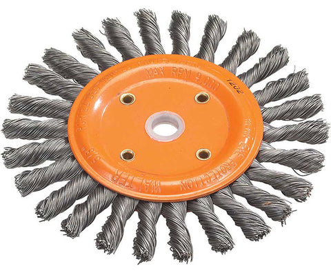 "Walter 13B260 6"" x 5/8"" x 1-1/4"" Knot-Twisted Bench Grinder Brush Wheel"