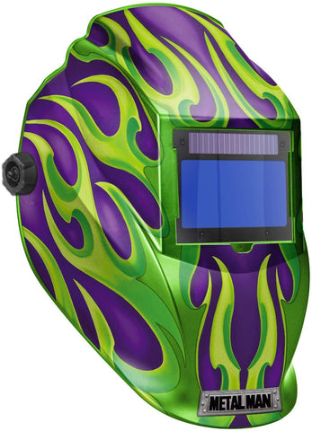Metal Man APG9735SGC Purple w/ Green Flames BIG Window Variable Shade Auto Darkening Welding Helmet