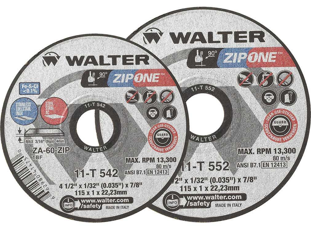"Walter 11-T-552 5"" ZIP ONE™ Thin Metal Cut-Off Wheels"