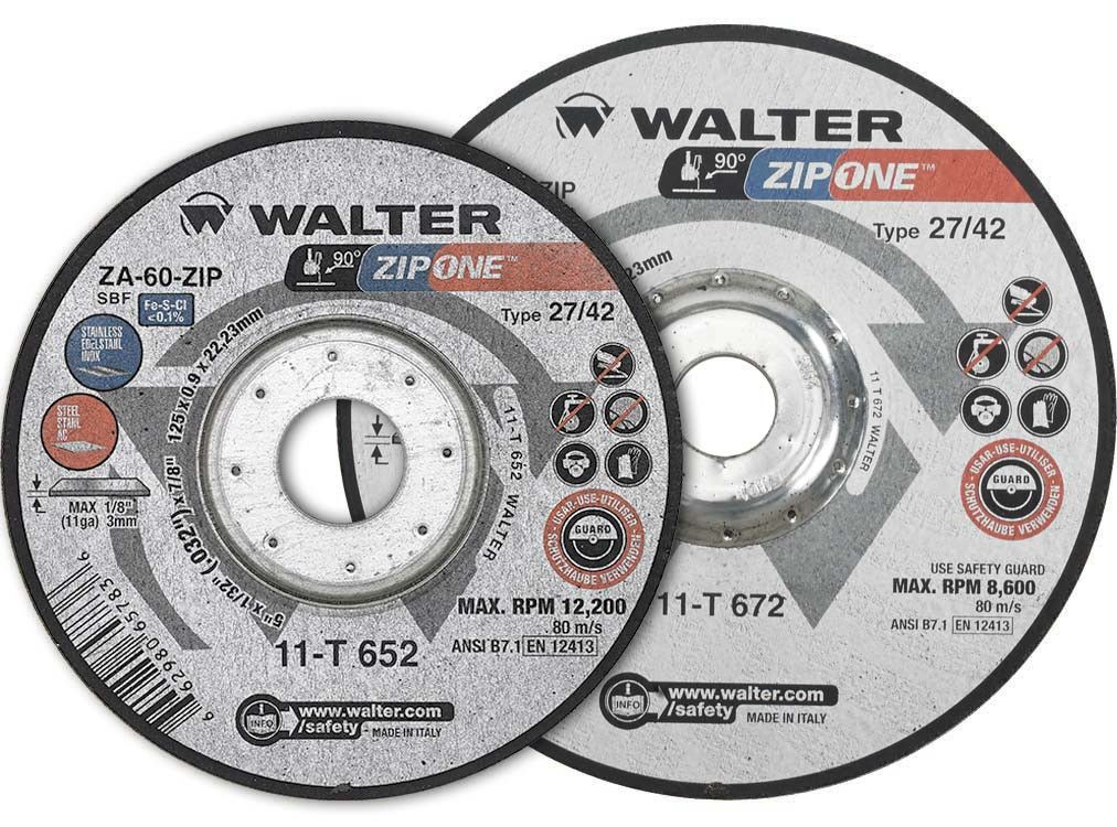 "Walter 11T652 5"" x 1/32"" x 7/8"" Zip One™ Type 27 Cut-Off Wheel"