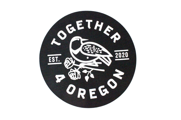 Black 10oz felt slipmat for your record player, printed in partnership with Together 4 Oregon
