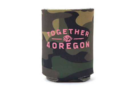 Camoflouge can cooler with pink print hand screen printed in partnership with Together 4 Oregon