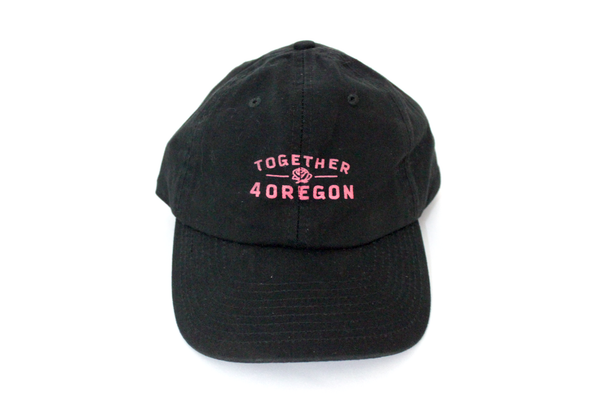 6-panel unstructured black canvas hat Made in USA with hand screen printed pink design in partnership with Together 4 Oregon