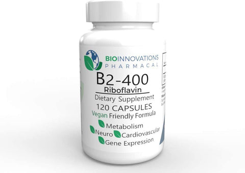 Vitamin B2 Riboflavin, 400 mg, 120 vegetable capsules