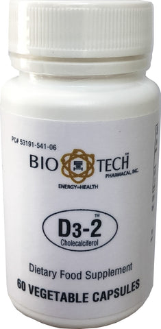 BioTech D3-2, Vitamin D3, 2000 IU 50 µg, Vegetable capsules, Halal and Kosher certified
