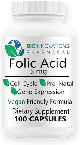 Folic Acid 5mg, 100 capsules, tiny soft and easy to swallow