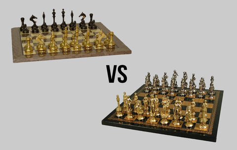 metal chess men comparison