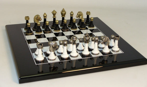 Blk & White Wood and Metal Set - ChessWarehouse