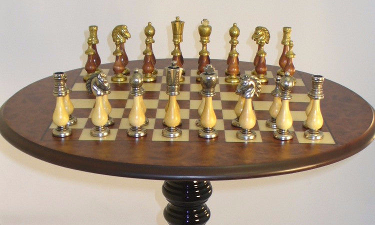 Lovely Round Chess Table With Staunton Metal And Wood Pieces