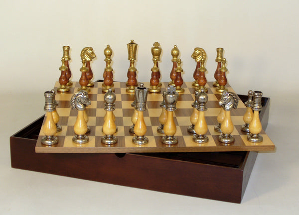 Staunton Metal and Wood with Chest - ChessWarehouse - 1