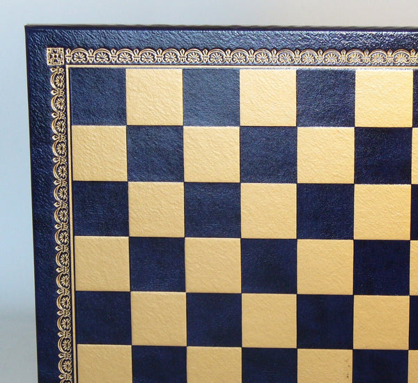 "13"" Blue & Gold Pressed Leather Board - ChessWarehouse"