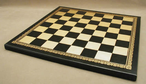 "13"" Black & Gold Pressed Leather Board - ChessWarehouse - 1"