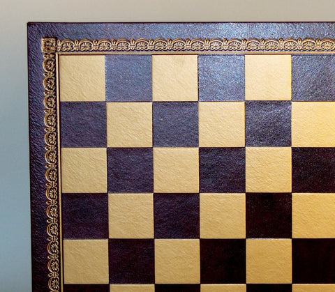 "13"" Burgundy & Gold Pressed Leather Board - ChessWarehouse - 1"