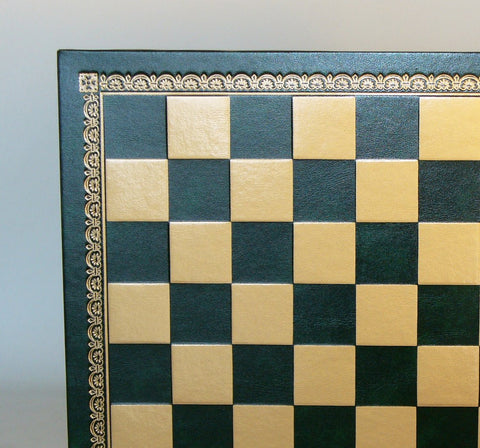 "13"" Green & Gold Pressed Leather Board - ChessWarehouse"