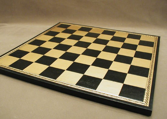 "18"" Black & Gold Pressed Leather Board - ChessWarehouse"