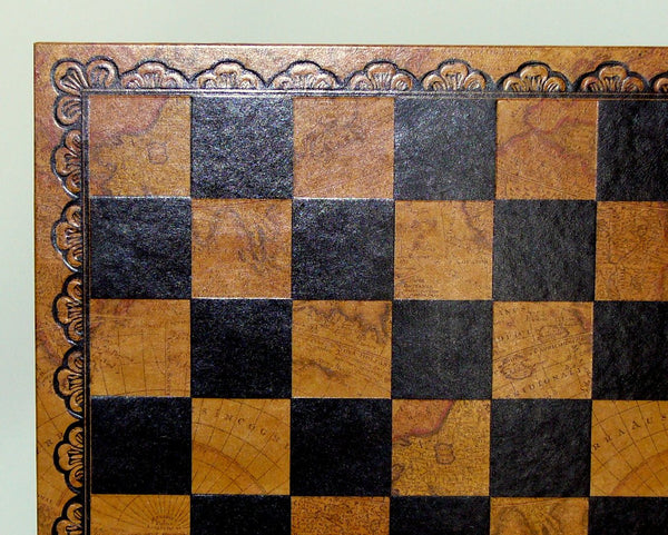 "18"" Pressed Leather Map Board - ChessWarehouse"