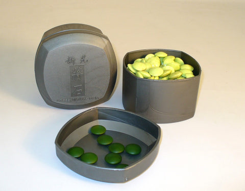 8mm Green glass Stones and grey bowls - ChessWarehouse