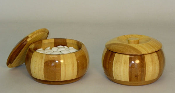 10mm Glass Bi-Convex Stones w/Bamboo Bowls - ChessWarehouse